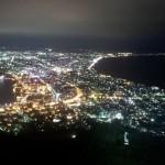 函館山の夜景を10分毎に撮影しました(2013年8月10日18:30~19:30)